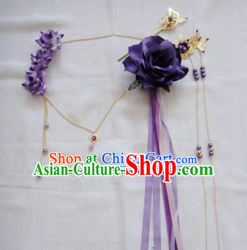 Chinese Traditional Classical Hair Accessories Ancient Princess Purple Flowers Hairpins for Women