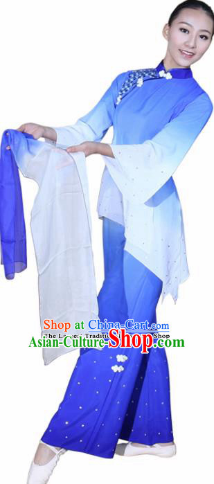 Chinese Traditional Folk Dance Yanko Dance Blue Clothing Classical Dance Costume for Women