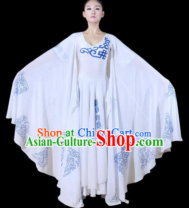 Chinese Traditional Folk Dance Yanko Dance White Clothing Classical Dance Costume for Women