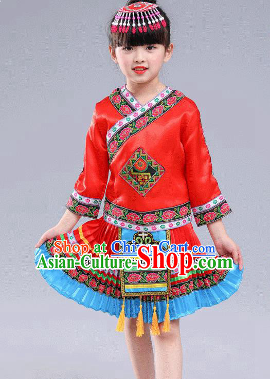 Chinese Traditional Miao Nationality Folk Dance Red Pleated Skirt Ethnic Dance Costumes for Kids