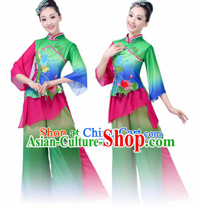 Chinese Traditional Folk Dance Green Costumes Classical Dance Yanko Dance Clothing for Women
