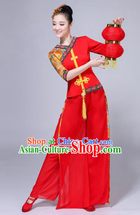 Chinese Traditional Folk Dance Red Costumes Classical Dance Yanko Dance Clothing for Women