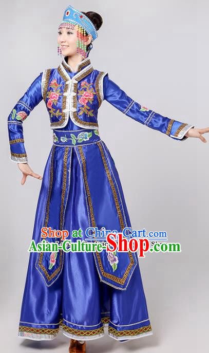 Chinese Traditional Mongolian Minority Folk Dance Royalblue Dress Mongols Ethnic Dance Costumes for Women