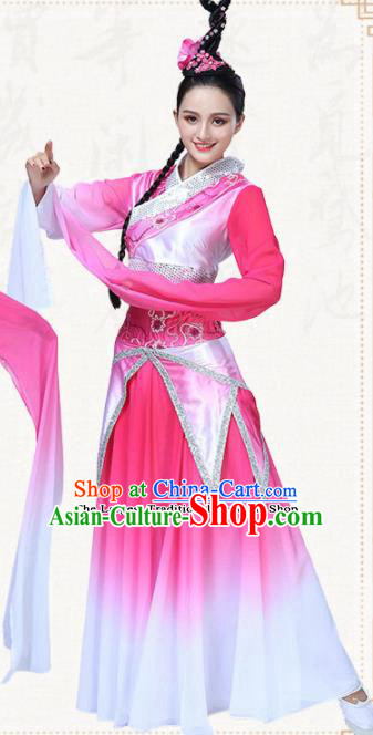 Chinese Traditional Classical Dance Pink Dress Folk Dance Group Dance Umbrella Dance Costumes for Women