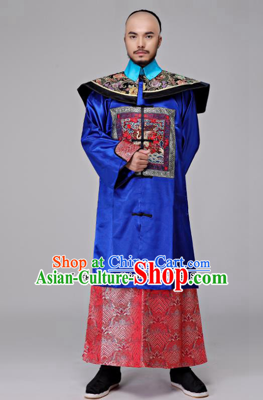 Traditional Chinese Qing Dynasty Royal Highness Costumes Ancient Drama Chancellor Clothing for Men