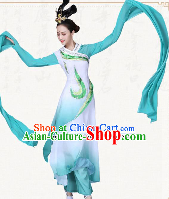 Chinese Traditional Classical Dance Green Water Sleeve Dress Ancient Group Dance Costumes for Women