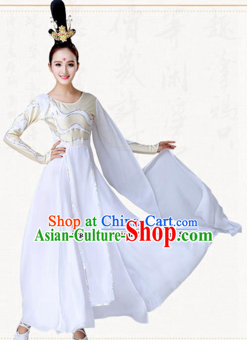 Chinese Traditional Classical Dance Umbrella Dance White Dress Group Dance Costumes for Women