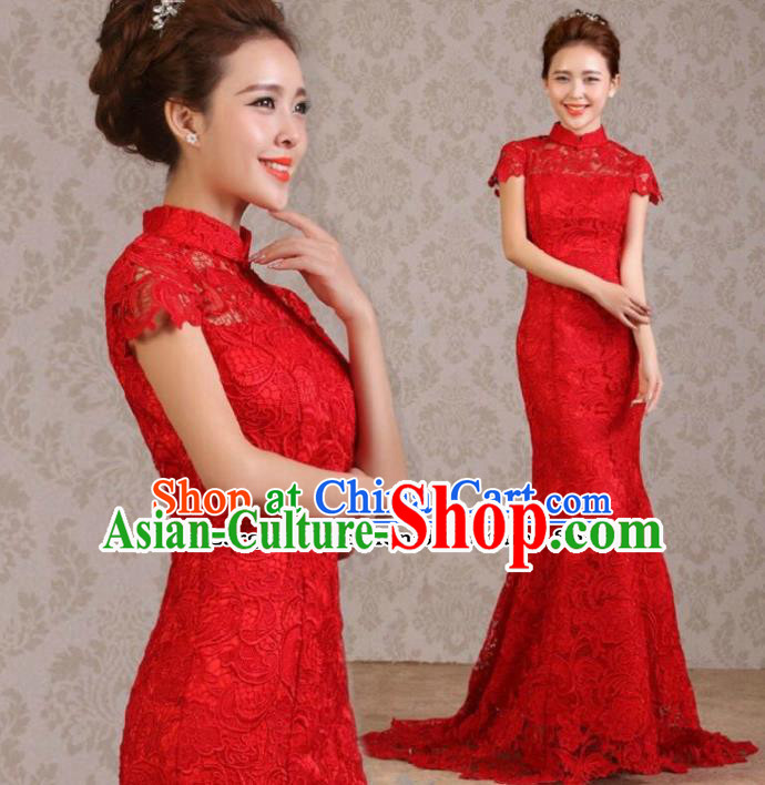 Traditional Chinese Classical Wedding Qipao Dress Bride Red Lace Cheongsam for Women