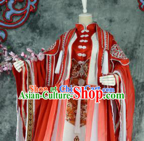 Traditional Chinese Cosplay Royal Highness Wedding Costumes Ancient Swordsman Red Hanfu Clothing for Men