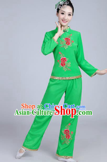 Traditional Chinese Group Dance Folk Dance Green Costumes Yanko Dance Clothing for Women