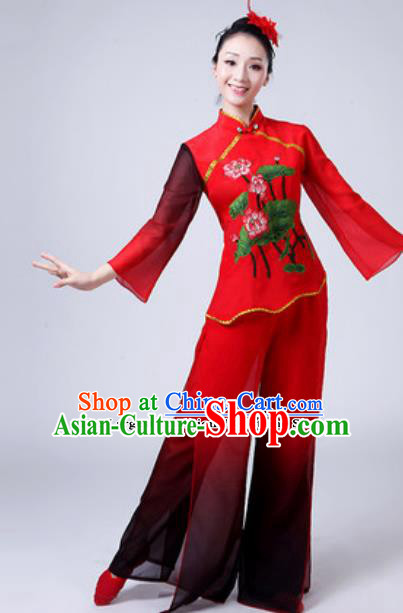 Traditional Chinese Folk Dance Costumes Yanko Dance Group Dance Clothing for Women
