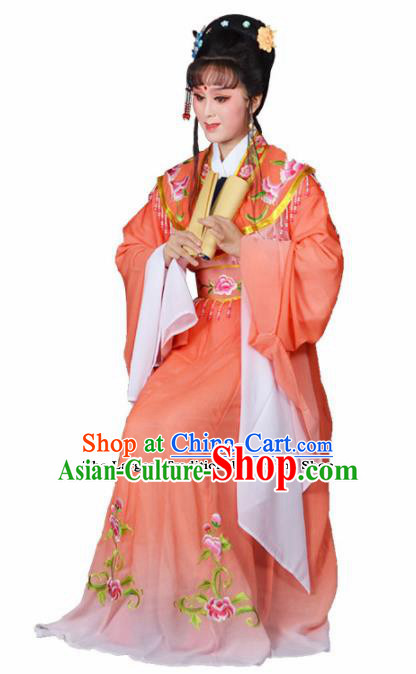 Traditional Chinese Beijing Opera Actress Costumes Ancient Princess Embroidered Orange Dress for Adults
