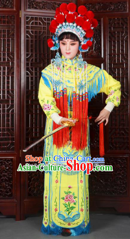 Traditional Chinese Peking Opera Blues Costumes Ancient Female General Yellow Dress and Hat for Adults