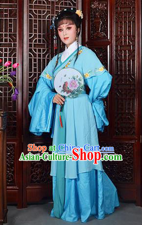 Traditional Chinese Beijing Opera Actress Costumes Ancient Princess Embroidered Blue Dress for Adults