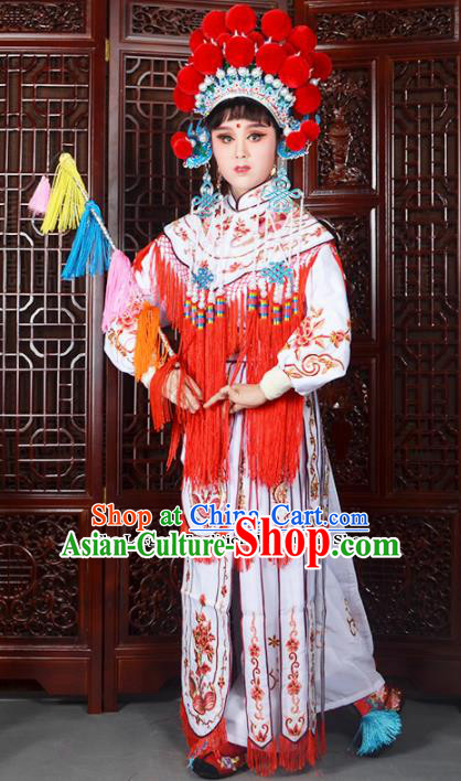 Traditional Chinese Peking Opera Blues Costumes Ancient Female General White Dress and Hat for Adults