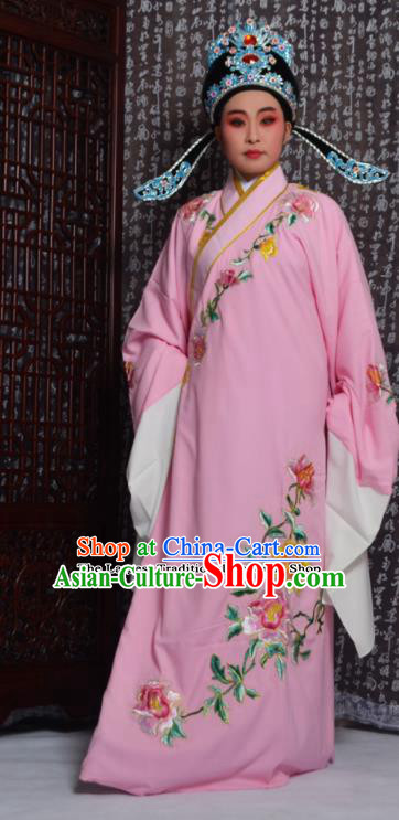Professional Chinese Peking Opera Niche Costumes Embroidered Peony Pink Robe for Adults