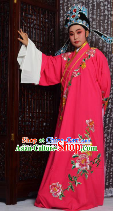 Professional Chinese Peking Opera Niche Costumes Embroidered Peony Rosy Robe for Adults