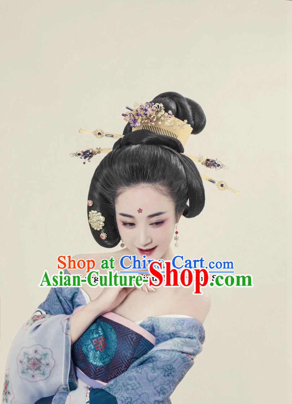 Traditional Ancient Chinese Empress Wig Hair Jewelry Japanese Black Wig Hair Accessories Complete Set