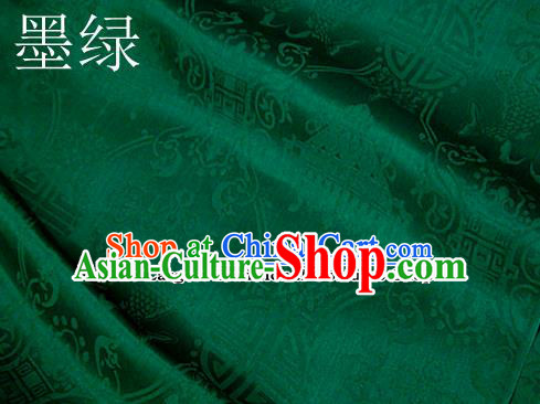 Traditional Chinese Royal Palace Double Fishes Pattern Design Green Brocade Fabric Silk Fabric Chinese Fabric Asian Material