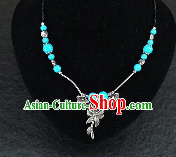 Chinese Traditional Jewelry Accessories Yunnan National Rose Pendant Blue Beads Flagon Necklace for Women