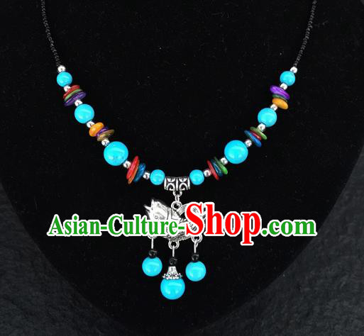 Chinese Traditional Jewelry Accessories Yunnan National Fish Pendant Blue Beads Flagon Necklace for Women