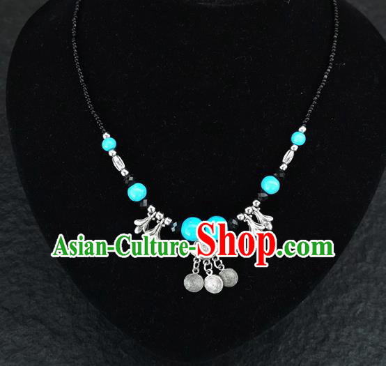 Chinese Traditional Jewelry Accessories Yunnan National Longevity Lock Pendant Blue Beads Necklace for Women