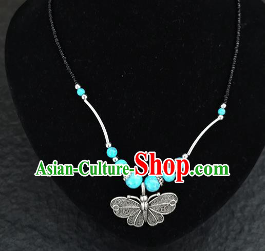 Chinese Traditional Jewelry Accessories Yunnan National Butterfly Pendant Blue Beads Necklace for Women