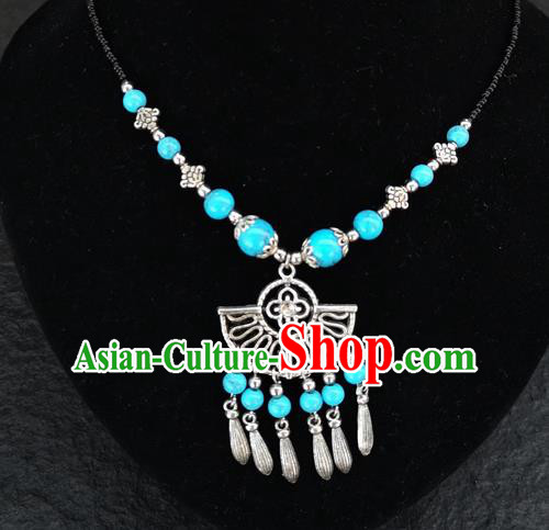 Chinese Traditional Jewelry Accessories Yunnan National Blue Beads Tassel Necklace for Women