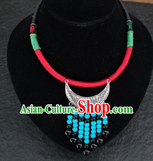 Chinese Traditional Accessories Yunnan Minority Blue Beads Tassel Necklace for Women