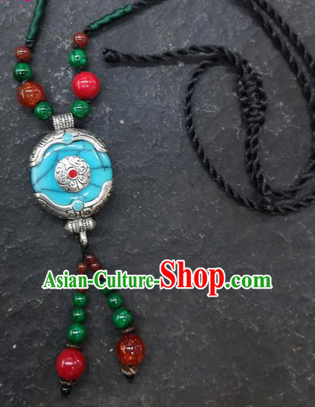 Chinese Traditional Accessories Yunnan Minority Blue Coloured Glaze Necklace for Women