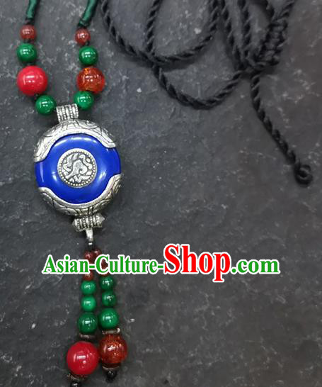 Chinese Traditional Accessories Yunnan Minority Royalblue Coloured Glaze Necklace for Women