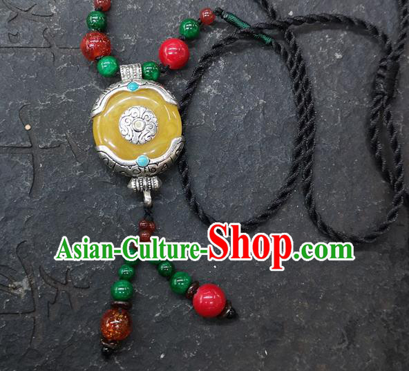 Chinese Traditional Accessories Yunnan Minority Yellow Coloured Glaze Necklace for Women