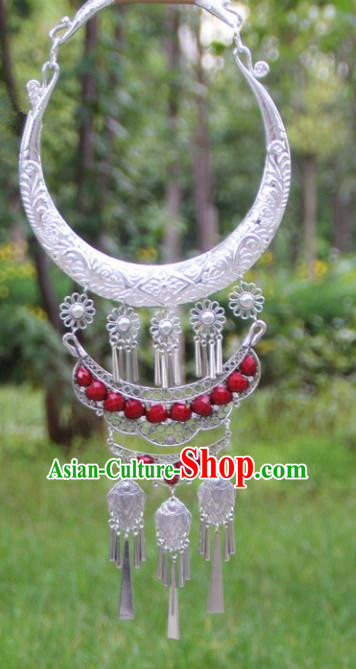 Chinese Traditional Ethnic Accessories Yunnan Miao Minority Exaggerated Red Necklace for Women