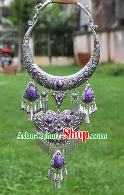Chinese Traditional Yunnan Miao Minority Carving Sliver Purple Necklace Ethnic Tassel Accessories for Women