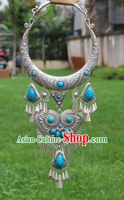 Chinese Traditional Yunnan Miao Minority Carving Sliver Blue Necklace Ethnic Tassel Accessories for Women