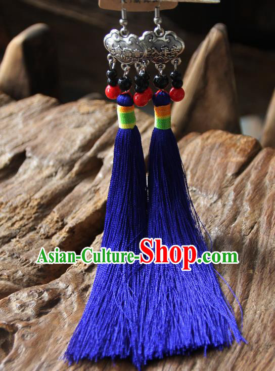 Chinese Traditional Ethnic Royalblue Tassel Longevity Lock Earrings National Ear Accessories for Women