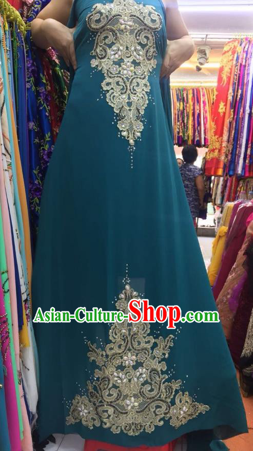Asian Vietnam Costume Vietnamese Trational Dress Peacock Green Embroidered Ao Dai Cheongsam Clothing for Women