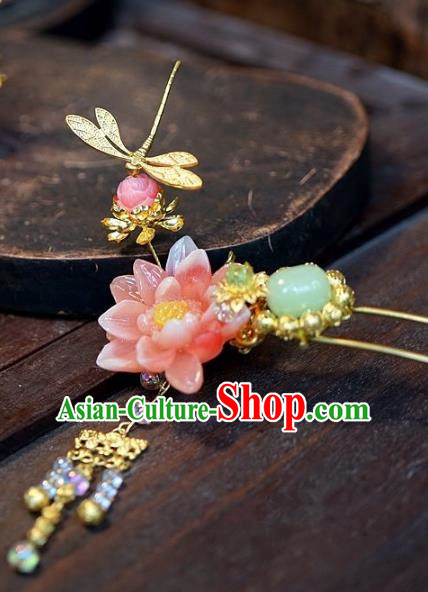 Chinese Handmade Classical Lotus Hairpins Hair Accessories Ancient Bride Xiuhe Suit Headwear Hair Clip for Women