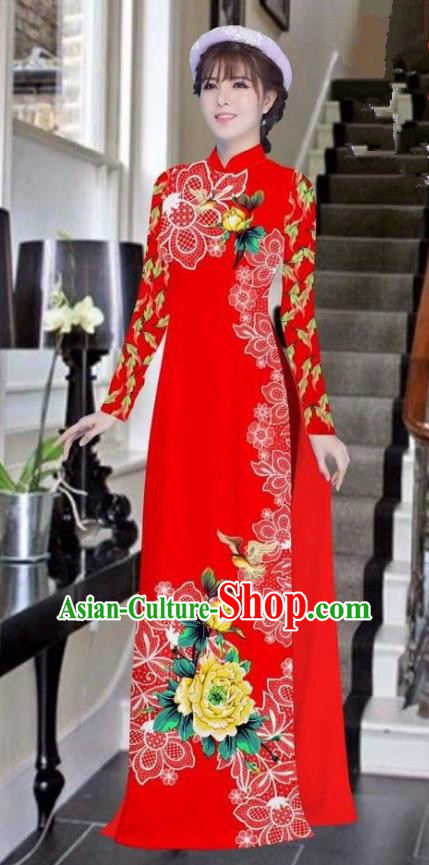 Asian Vietnam National Costume Vietnamese Bride Trational Dress Printing Peony Red Ao Dai Cheongsam for Women