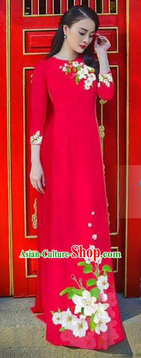 Asian Vietnam National Costume Vietnamese Bride Trational Dress Printing Flowers Red Ao Dai Cheongsam for Women