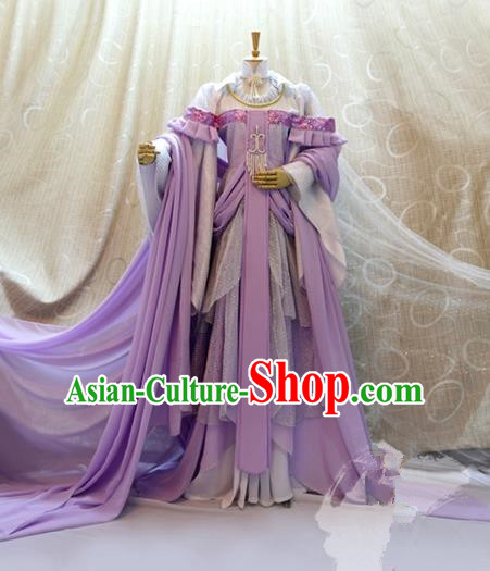 Traditional China Ancient Cosplay Princess Clothing Han Dynasty Palace Lady Purple Dress for Women