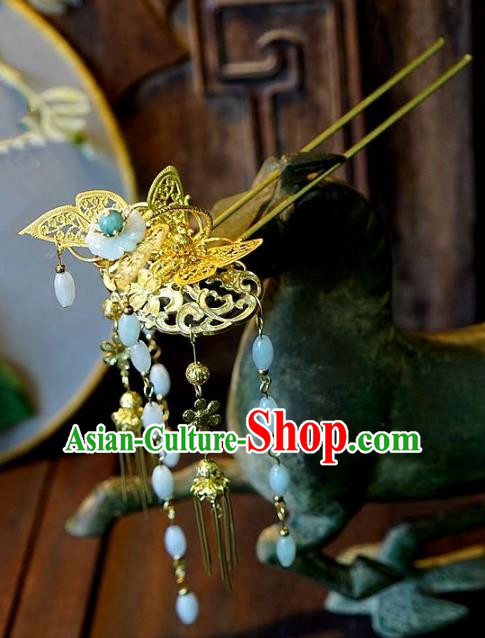 Chinese Handmade Classical Hair Accessories Ancient Tassel Butterfly Hairpins for Women