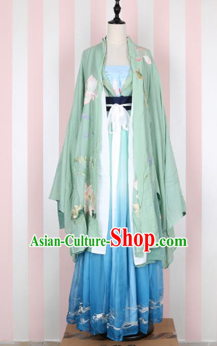 Ancient Chinese Ming Dynasty Princess Embroidered Lotus Costume, China Ancient Palace Lady Clothing for Women