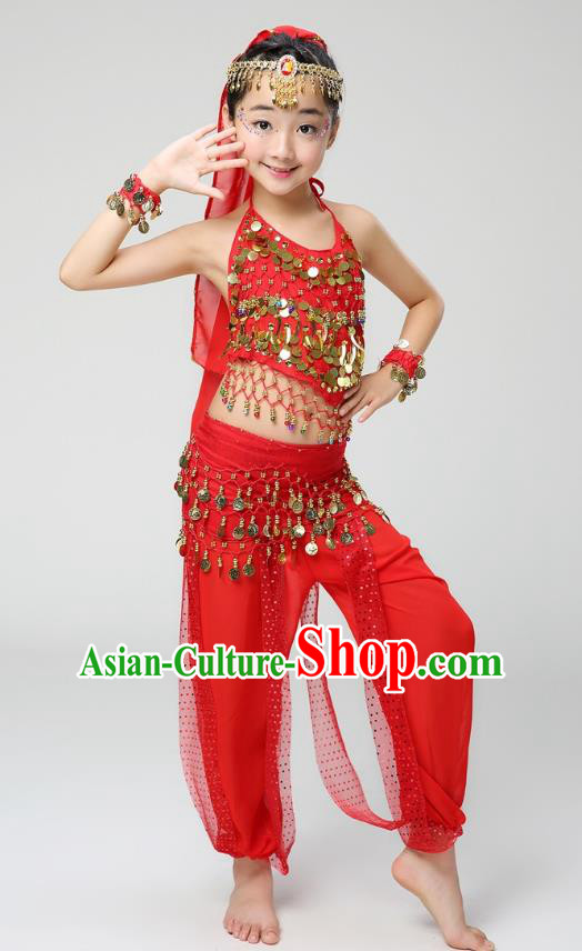 Traditional India Dance Red Costume, Asian Indian Belly Dance Paillette Clothing for Kids