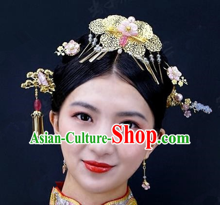Chinese Handmade Classical Hairpins Ancient Hanfu Xiuhe Suit Headdress Hair Accessories for Women