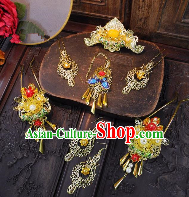 Chinese Handmade Classical Hairpins Ancient Hanfu Wedding Headdress Hair Accessories for Women