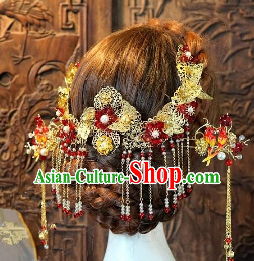 Chinese Handmade Classical Hair Accessories Ancient Hanfu Hairpins Xiuhe Suit Bride Headdress for Women