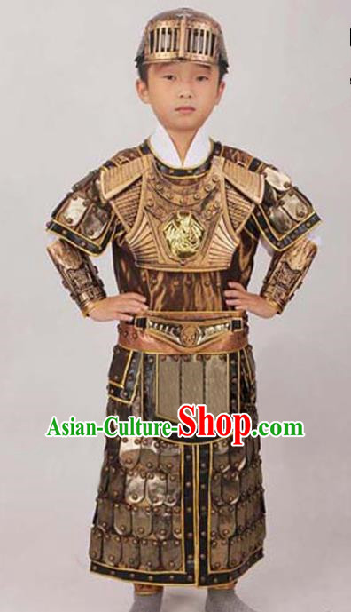 Traditional Ancient Chinese General Soldier Helmet and Armour Clothing for Kids