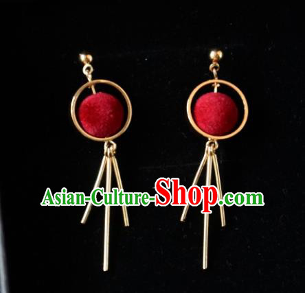 European Western Bride Vintage Red Earbob Accessories Renaissance Earrings for Women