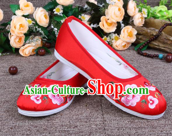 Asian Chinese Wedding Shoes Red Embroidered Shoes, Traditional China Princess Shoes Hanfu Shoes for Women